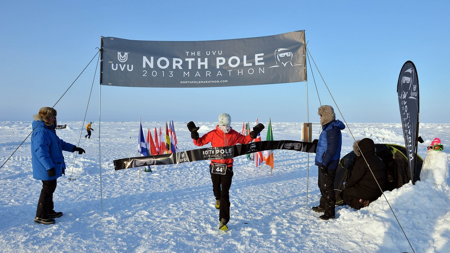 Handout photo of Gary Thornton, winning The UVU 2013 North Pole Marathon. Known as the world's coolest marathon, the marathon took place just after midnight on April 9th. The 42.195km event was won by Mr Thornton in a time of 3 hrs 49 minutes. Fiona Oakes, Great Britain, won the female division. Competitors experienced continual daylight at the geographic North Pole and ran a very challenging course in soft snow. Armed guards kept watch for polar bears. PRESS ASSOCIATION Photo. Issue date: Thursday April 11, 2013. See PA story ADVENTURE Artic Ireland. Photo credit should read: Mike King/PA Wire NOTE TO EDITORS: This handout photo may only be used in for editorial reporting purposes for the contemporaneous illustration of events, things or the people in the image or facts mentioned in the caption. Reuse of the picture may require further permission from the copyright holder.