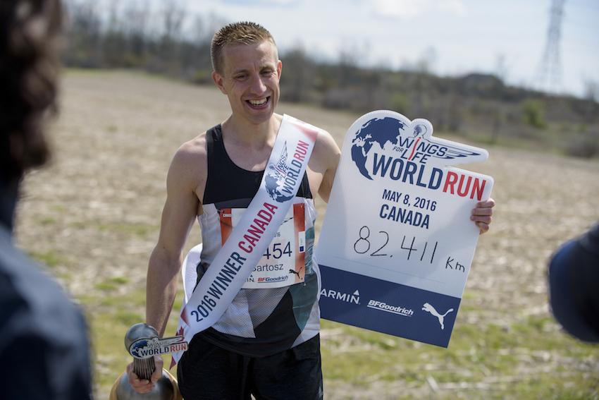 Bartosz Olsewski of Poland seen during the Wings for Life World Run in Niagara Falls, Canada on May 8, 2016.