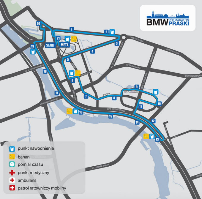 bmw półmaraton praski mapa 2016