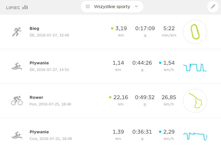 W autorskiej aplikacji MySport całość bardzo przejrzysta i prosta w nawigacji. Na głównym ekranie są: statystyki miesięczne